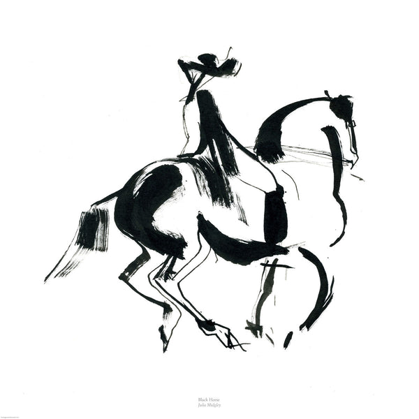 Fine art giclee print of horse and rider from ink drawing