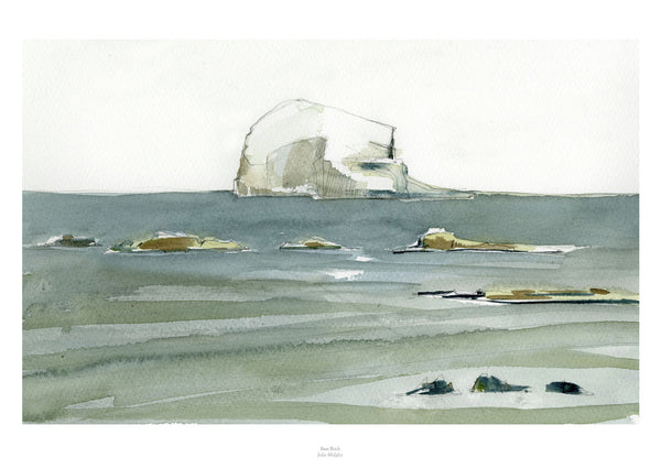 Fine art giclee print of rock in the sea.