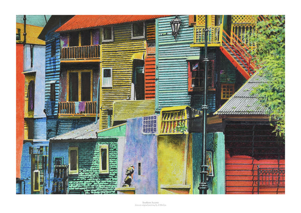 Fine art giclée print of houses in various colours