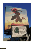 Fine art giclée photoprint of an advertising sign for Spiderman movie