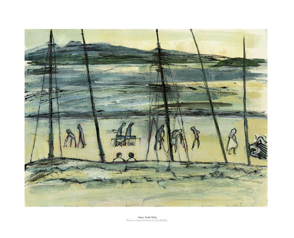 Fine art gyclee print of a beach scene and masts in North Wales