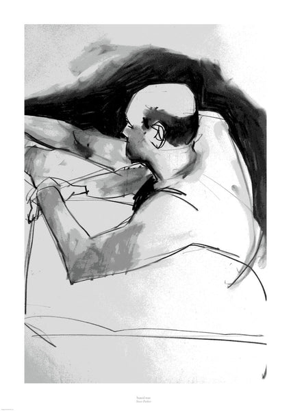 Fine art giclée print of seated man
