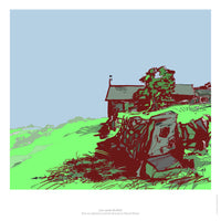 Fine art gyclee print of a farmhouse near Sheffield UK