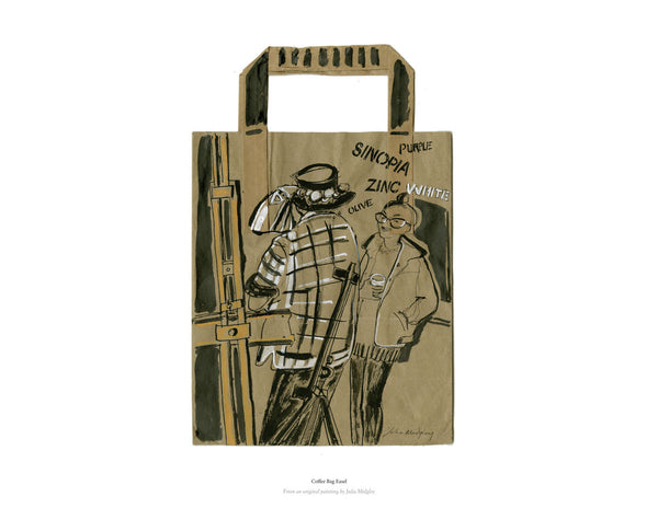 Fine art giclee print of an image on a coffee bag