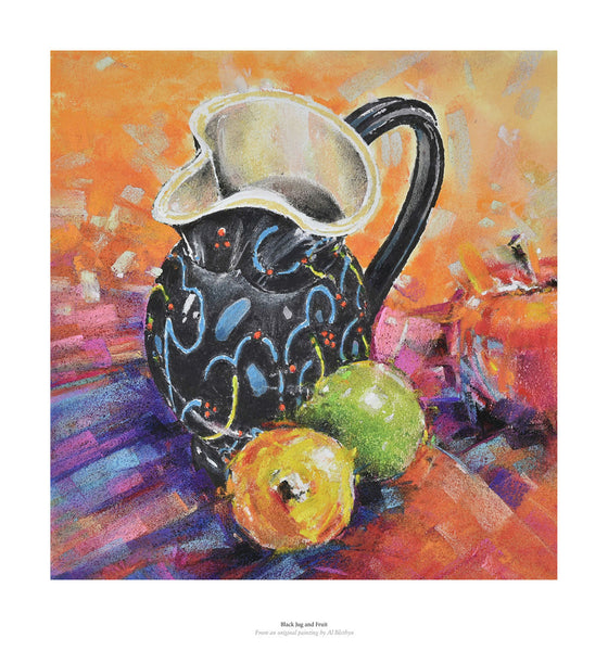 Fine art gyclee print of jug and fruit from a pastel drawing