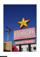 Fine art giclée photoprint of a Los Angeles ad sign for Carl's Burgers