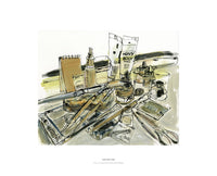 Fine art giclee print of artists materials from a drawing