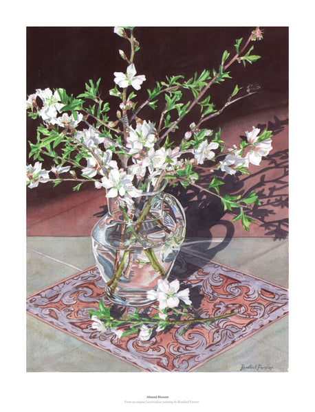 Fine art giclée print of almond blossom in glass vase