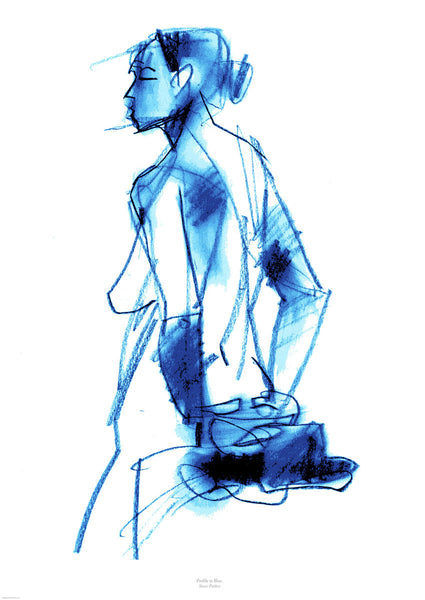Fine art giclee print. Life drawing. Naked woman profile