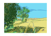 Fine art gyclee print of a cotswold field and trees
