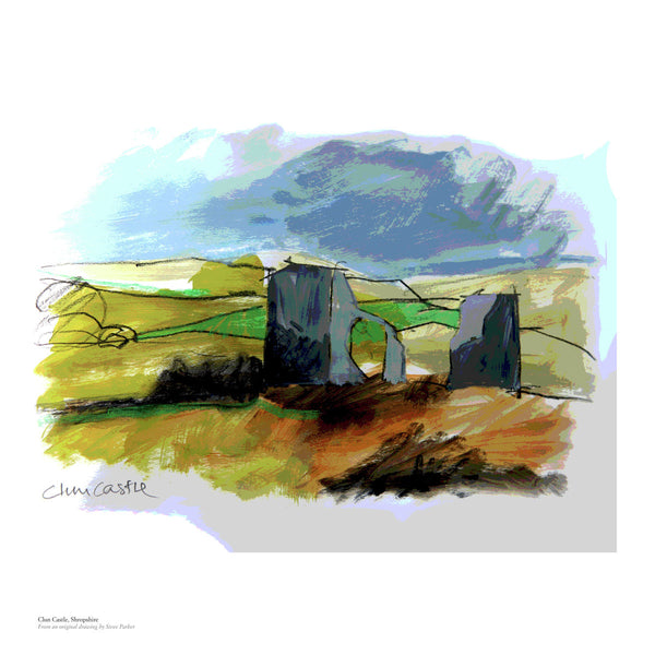 Fine art gyclee print of Clun Castle in Shropshire, UK