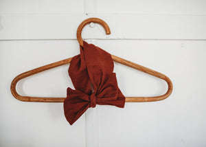 Linen Rust Top Knot & Bow