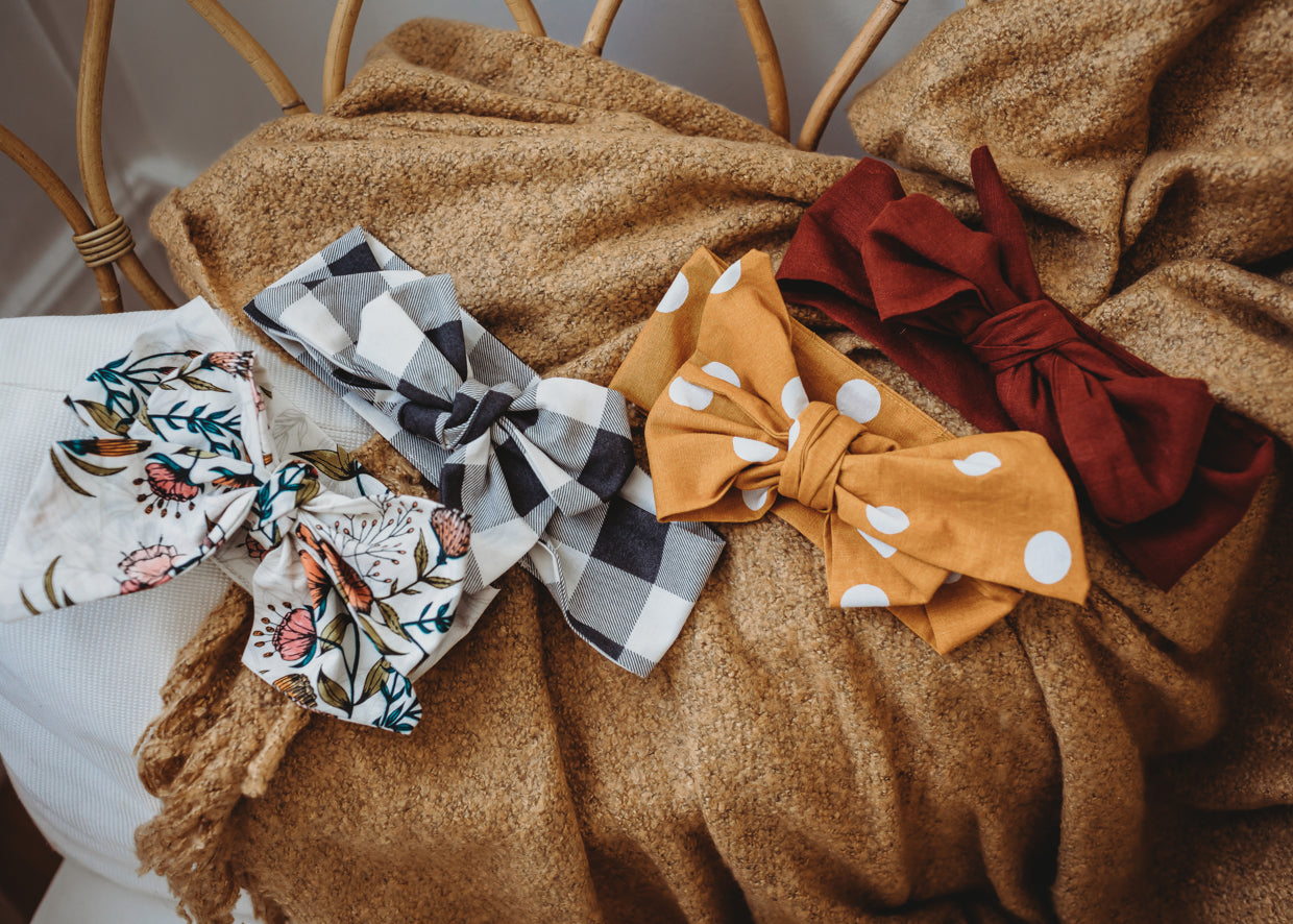 Top Knot & Bow Linen Rust