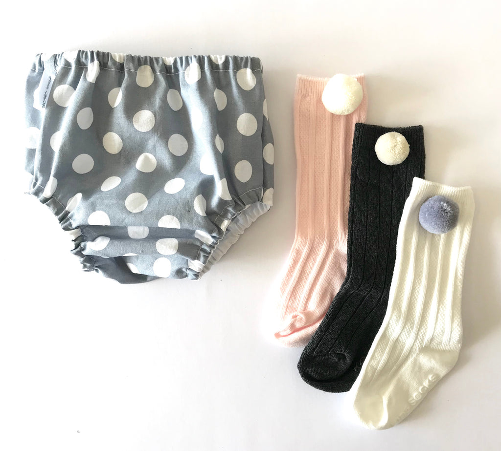 Grey and White Spot Nappy Covers