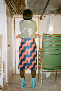 PENCIL SKIRT IN RUST/MIDNIGHT