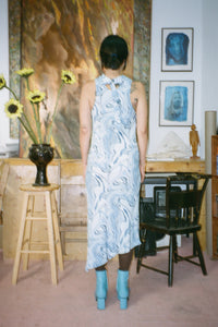 COWL NECK DRESS IN BLUE MARBLE