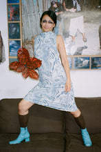 Load image into Gallery viewer, COWL NECK DRESS IN BLUE MARBLE