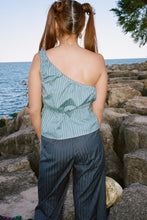 Load image into Gallery viewer, FIA TOP IN TEAL PINSTRIPE - CIAO LUCIA!