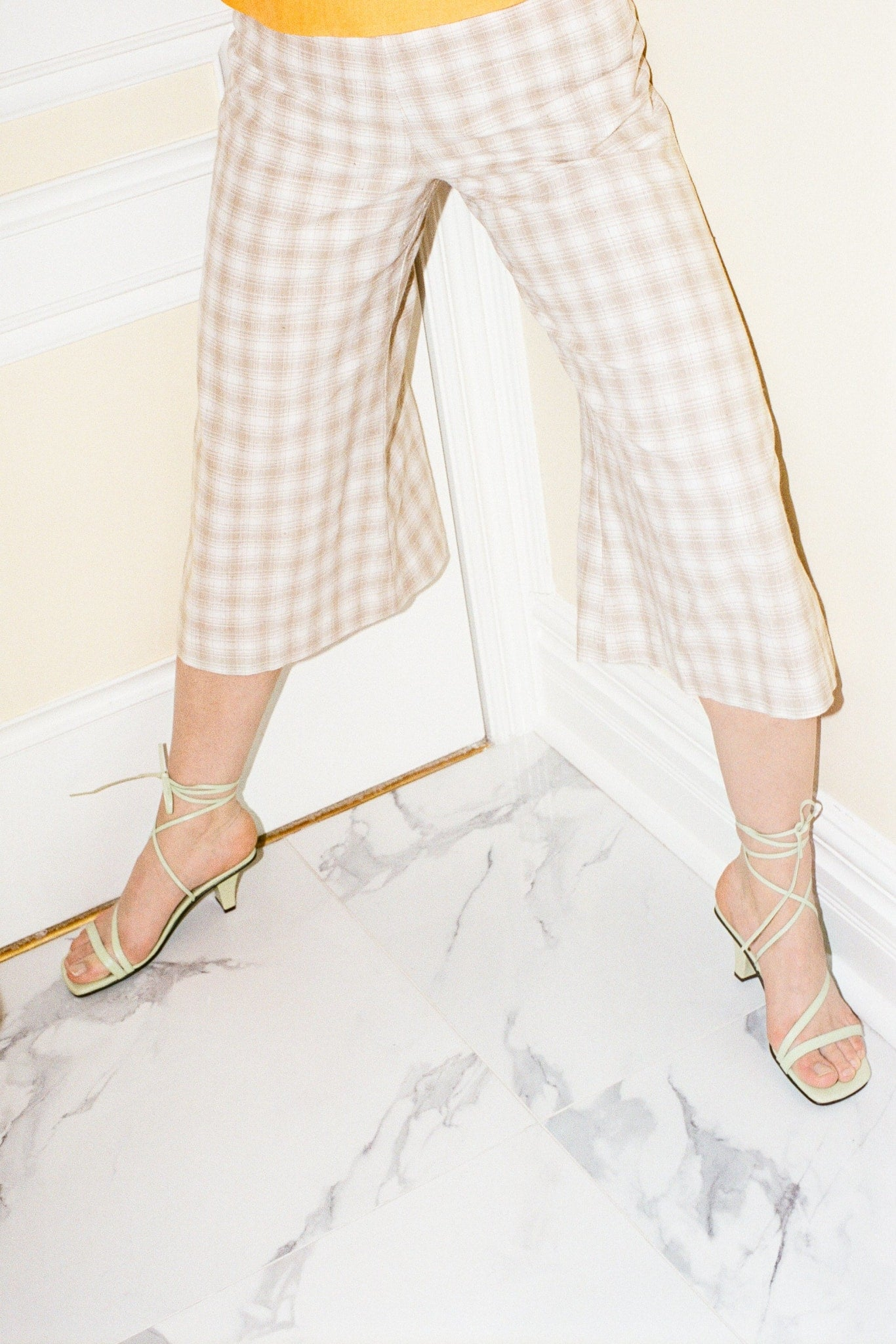 QUINTANA CULOTTES IN ECRU PLAID - Town Clothes