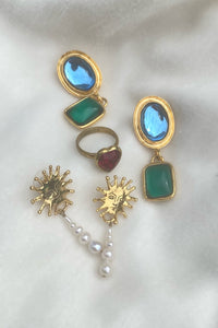 JELLY EARRINGS IN ICE BLUE/EMERALD