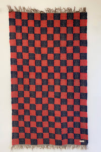 RED AND BLUE CHECKERED RUG - Ancán