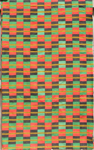 Large Checkered Ewe Kente Cloth in Red/Black/Green/Yellow