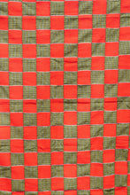 Load image into Gallery viewer, EWE KENTE - RED AND GREEN CHECKER - 100% SILK SHOP