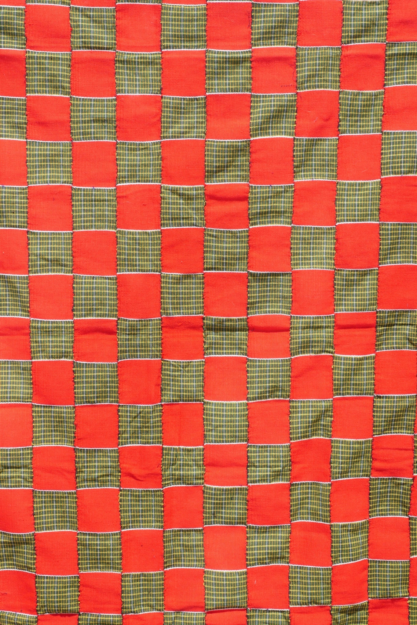 EWE KENTE - RED AND GREEN CHECKER - 100% SILK SHOP