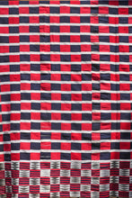 Load image into Gallery viewer, Early 20th century EWE KENTE - RED BLUE WHITE CHECKER - 100% SILK SHOP