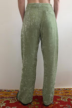 Load image into Gallery viewer, BOX-PLEAT TROUSER IN SAGE - 100% SILK