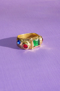SUEDE RING WITH GREEN, BLUE AND RED GLASS