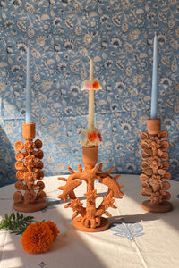 OAXACAN RED CLAY CANDLESTICK HOLDER WITH FLOWERS
