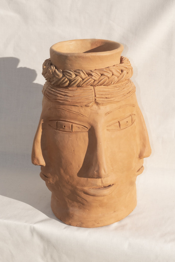 OXANCAN RED CLAY HEAD VASE - 100% SILK SHOP