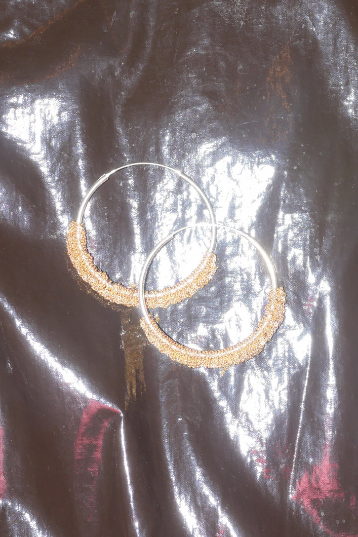 SMALL CIRCLET HOOP IN GOLD AND SILVER A1812B