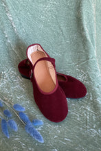 Load image into Gallery viewer, MARY JANE FLATS IN VELVET MAROON - 100% SILK SHOP