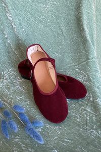 MARY JANE FLATS IN VELVET MAROON - 100% SILK SHOP