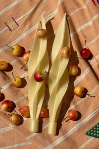 TWISTED BEESWAX CANDLES - IVORY - 100% SILK SHOP