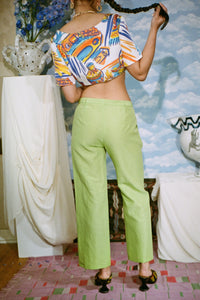 CAPE TROUSER IN LIME - Maryam Nassir Zadeh