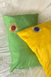 GREEN SUN PILLOW - 100% SILK