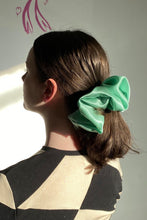 Load image into Gallery viewer, XL SILK SCRUNCHIE IN BLACK/MINT/CREAM