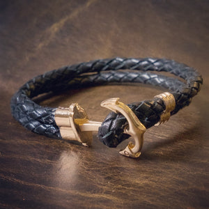 The Anchor | 6 strand braided leather bracelet with anchor clasp