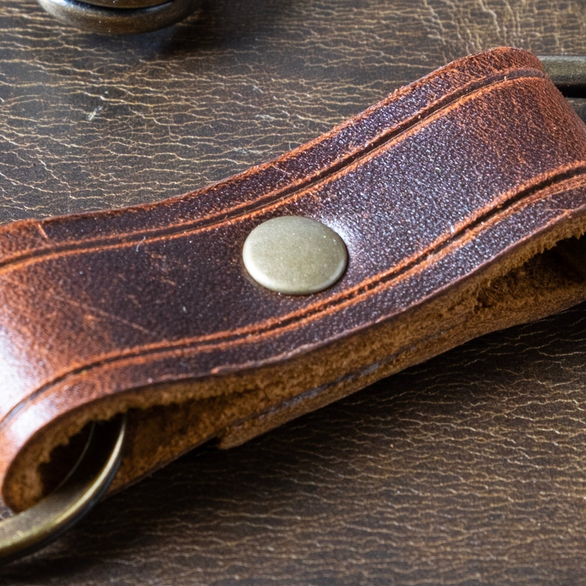 The Bass Harbor | Leather key fob with antique brass hardware
