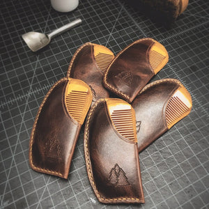 The North Woods | peach wood beard comb with leather sleeve
