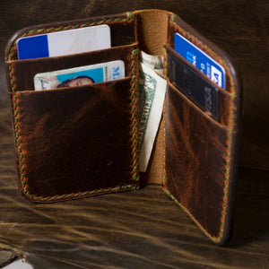 The Katahdin | Autumn Harvest vertical leather card wallet