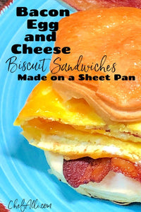 When it comes to breakfast, what's better than a warm, yummy Bacon, Egg and Cheese Biscuit Sandwich? Having these on hand to pull out of the freezer and pop into the oven on busy school mornings has saved my bacon more times than I can even say
