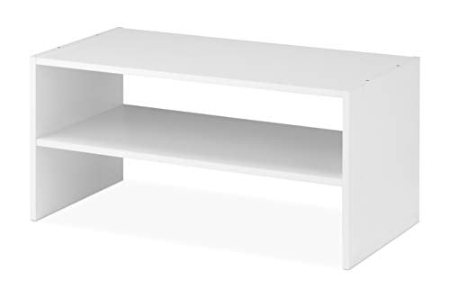 Whitmor Wood Stackable 2-Shelf Shoe Rack, 24 INCH, White