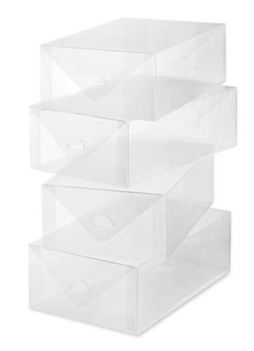 Whitmor Clear Vue Women's Shoe Box - Heavy Duty Stackable Shoe Storage - (Set of 4)