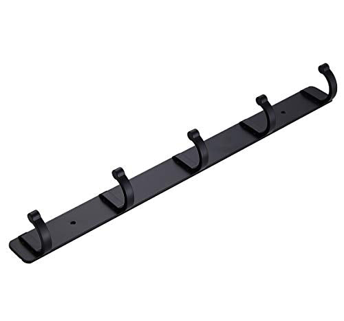 UCAS Bathroom Towel Hook Towel Robe Coat Rack/Rail with 5 Hooks Wall Mount Solid Metal, 14-Inch, Black