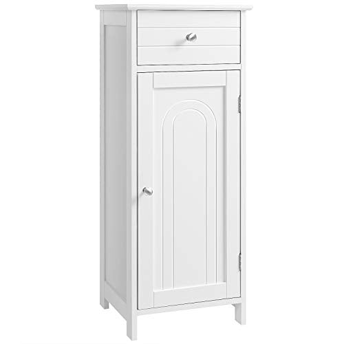 VASAGLE Bathroom Floor Cabinet Wooden Storage Organizer Unit with Drawer and Adjustable Shelf for Living Room White