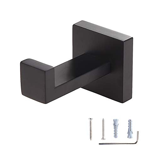 Toprema Robe Hook Single Towel Clothes Coat Hook Stainless Steel Matte Black Hanger Bathroom Lavatory Kitchen Cabinet Closet Hardware Wall Mount 1 Pack